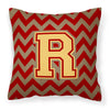 Letter R Chevron Garnet and Gold  Fabric Decorative Pillow CJ1048-RPW1414 by Caroline's Treasures