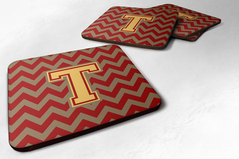 Buy this Letter T Chevron Garnet and Gold  Foam Coaster Set of 4 CJ1048-TFC