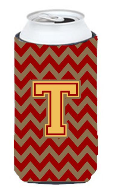 Letter T Chevron Garnet and Gold  Tall Boy Beverage Insulator Hugger CJ1048-TTBC by Caroline's Treasures