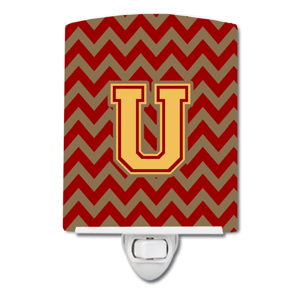 Buy this Letter U Chevron Garnet and Gold  Ceramic Night Light CJ1048-UCNL