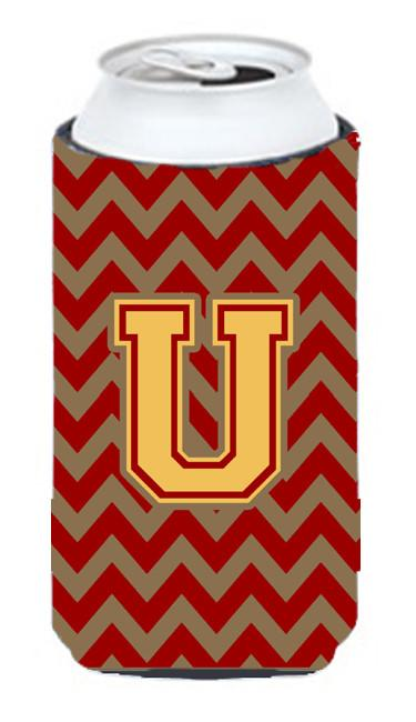 Buy this Letter U Chevron Garnet and Gold  Tall Boy Beverage Insulator Hugger CJ1048-UTBC