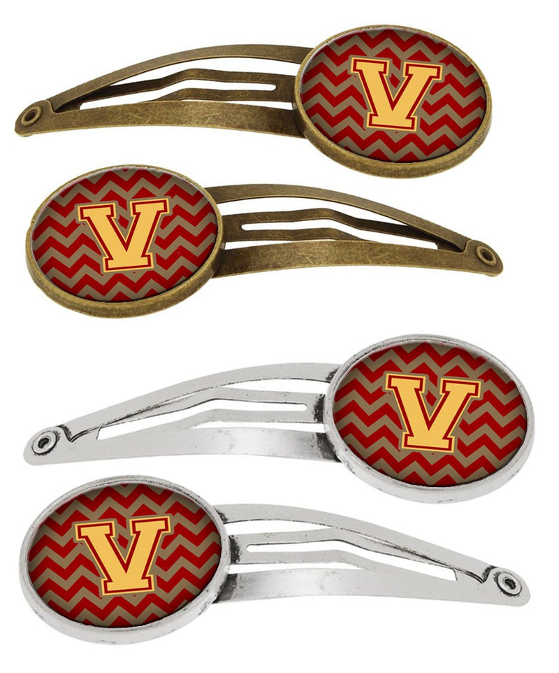 Buy this Letter V Chevron Garnet and Gold Set of 4 Barrettes Hair Clips CJ1048-VHCS4