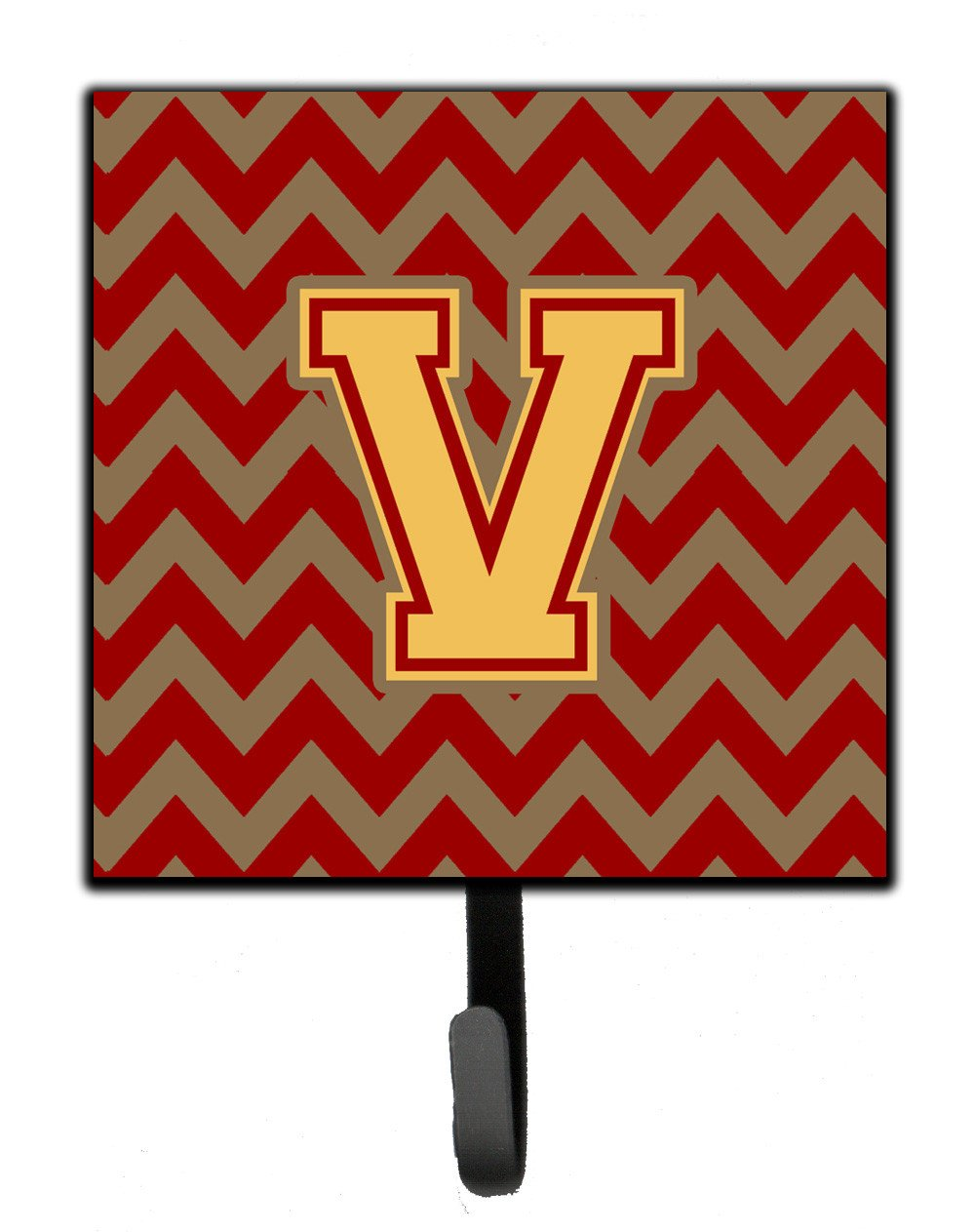 Letter V Chevron Garnet and Gold  Leash or Key Holder CJ1048-VSH4 by Caroline's Treasures