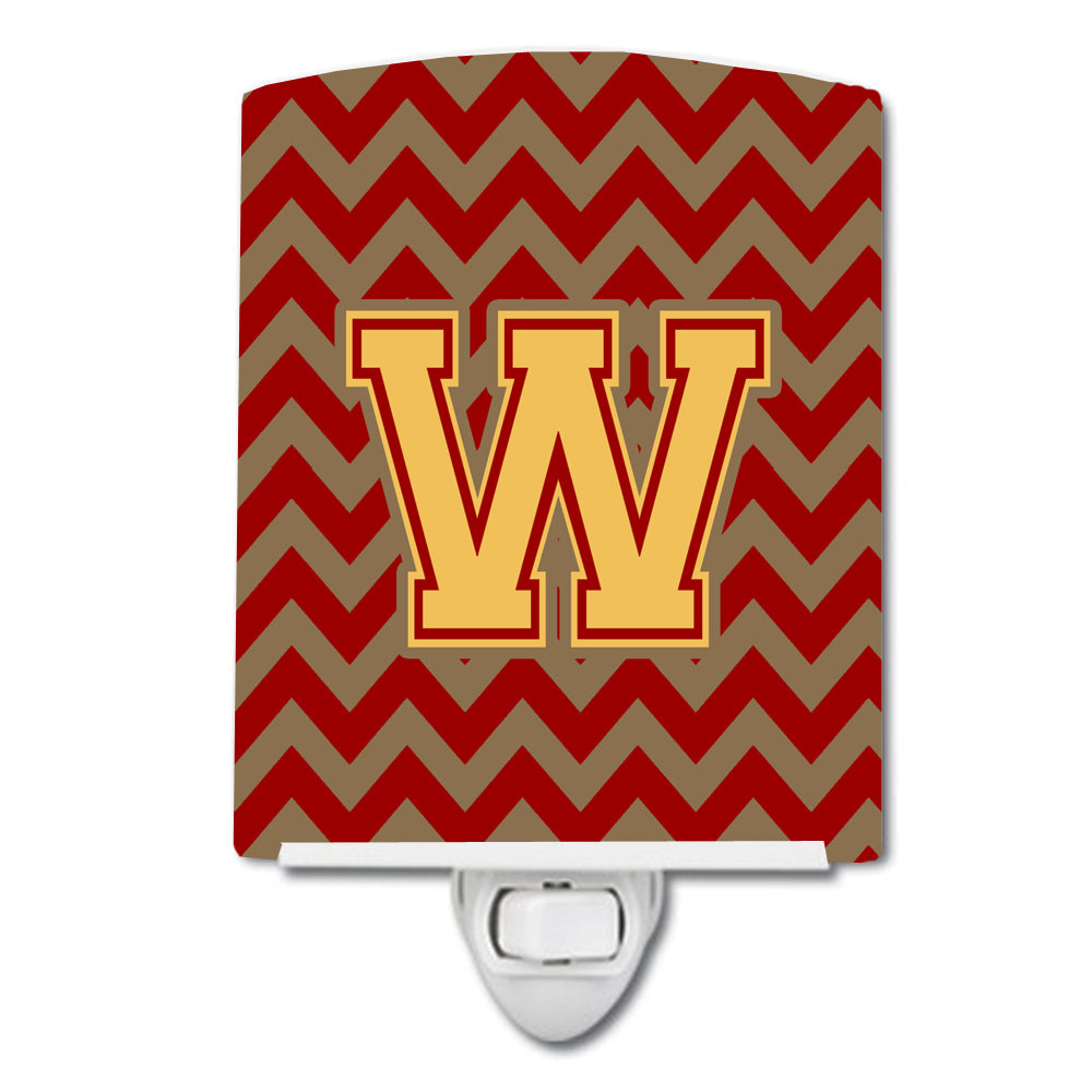 Letter W Chevron Garnet and Gold  Ceramic Night Light CJ1048-WCNL by Caroline's Treasures