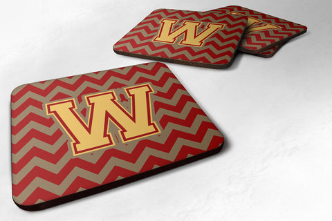 Buy this Letter W Chevron Garnet and Gold  Foam Coaster Set of 4 CJ1048-WFC