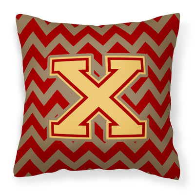 Buy this Letter X Chevron Garnet and Gold  Fabric Decorative Pillow CJ1048-XPW1414