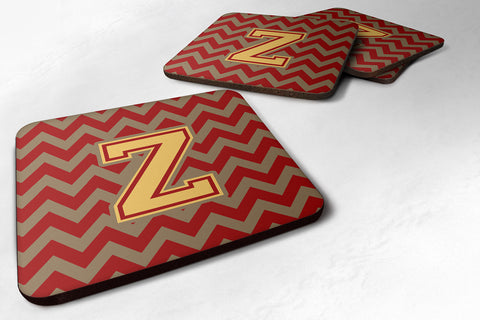 Buy this Letter Z Chevron Garnet and Gold  Foam Coaster Set of 4 CJ1048-ZFC