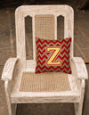 Letter Z Chevron Garnet and Gold  Fabric Decorative Pillow CJ1048-ZPW1414 by Caroline's Treasures