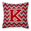Buy this Letter K Chevron Maroon and White Fabric Decorative Pillow CJ1049-KPW1414