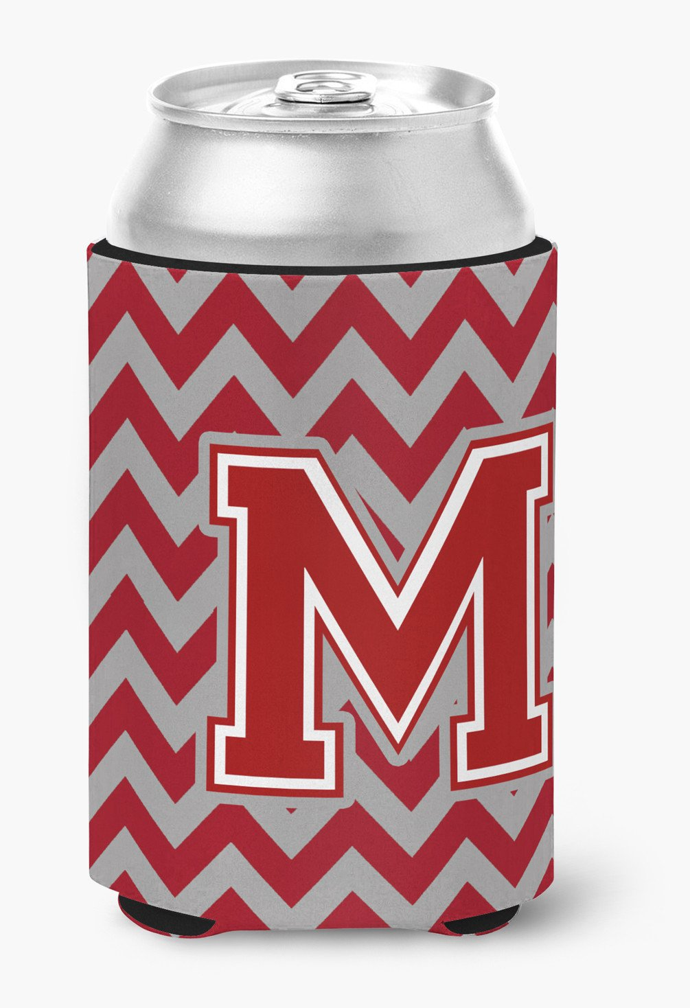 Letter M Chevron Maroon and White Can or Bottle Hugger CJ1049-MCC by Caroline's Treasures