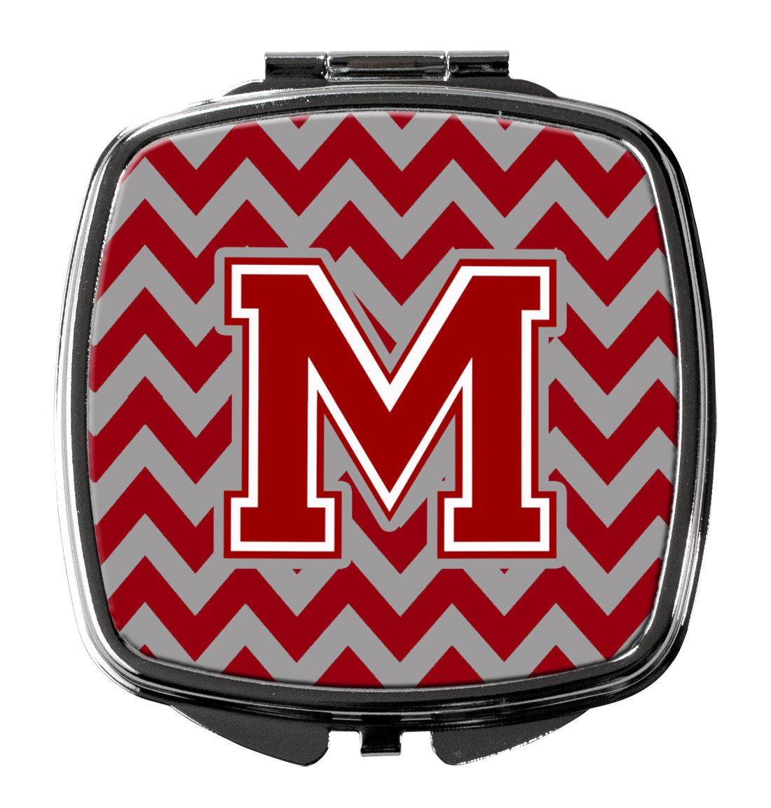 Letter M Chevron Maroon and White Compact Mirror CJ1049-MSCM by Caroline's Treasures
