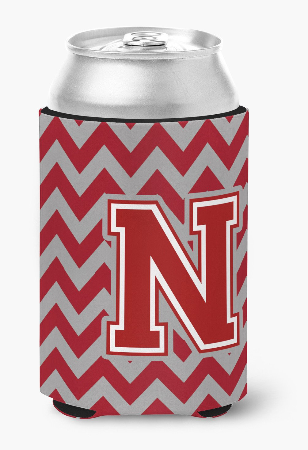 Letter N Chevron Maroon and White Can or Bottle Hugger CJ1049-NCC by Caroline's Treasures