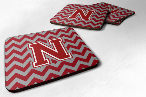 Buy this Letter N Chevron Maroon and White Foam Coaster Set of 4 CJ1049-NFC