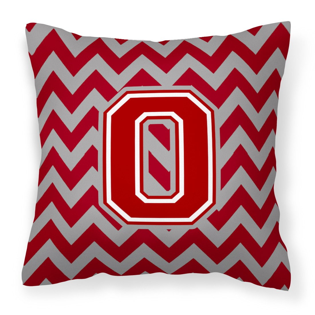 Letter O Chevron Maroon and White Fabric Decorative Pillow CJ1049-OPW1414 by Caroline's Treasures