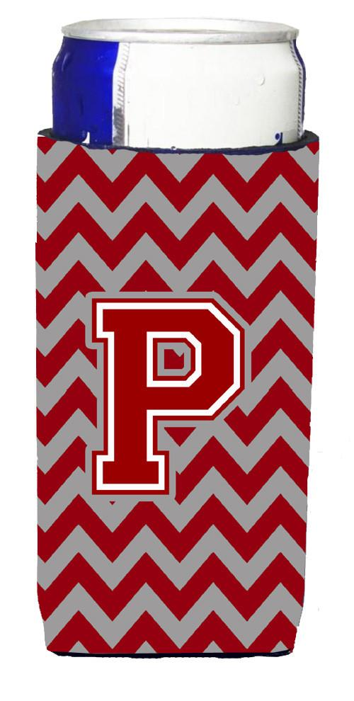 Letter P Chevron Maroon and White Ultra Beverage Insulators for slim cans CJ1049-PMUK by Caroline's Treasures