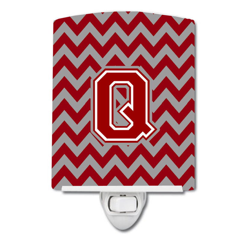 Buy this Letter Q Chevron Maroon and White Ceramic Night Light CJ1049-QCNL