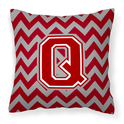 Buy this Letter Q Chevron Maroon and White Fabric Decorative Pillow CJ1049-QPW1414