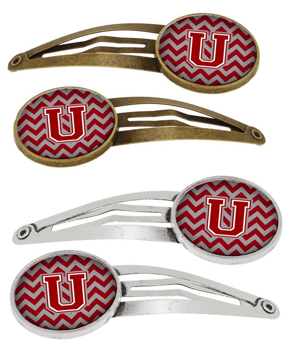 Buy this Letter U Chevron Maroon and White Set of 4 Barrettes Hair Clips CJ1049-UHCS4
