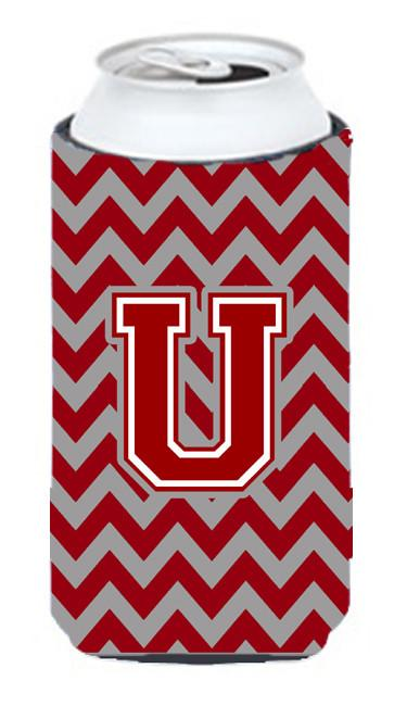 Buy this Letter U Chevron Maroon and White Tall Boy Beverage Insulator Hugger CJ1049-UTBC
