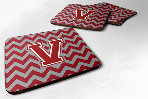 Buy this Letter V Chevron Maroon and White Foam Coaster Set of 4 CJ1049-VFC