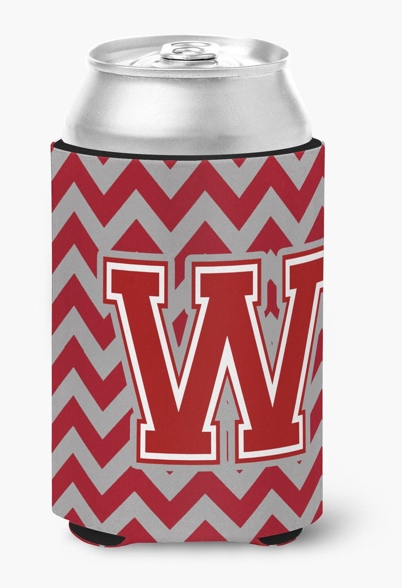 Buy this Letter W Chevron Maroon and White Can or Bottle Hugger CJ1049-WCC