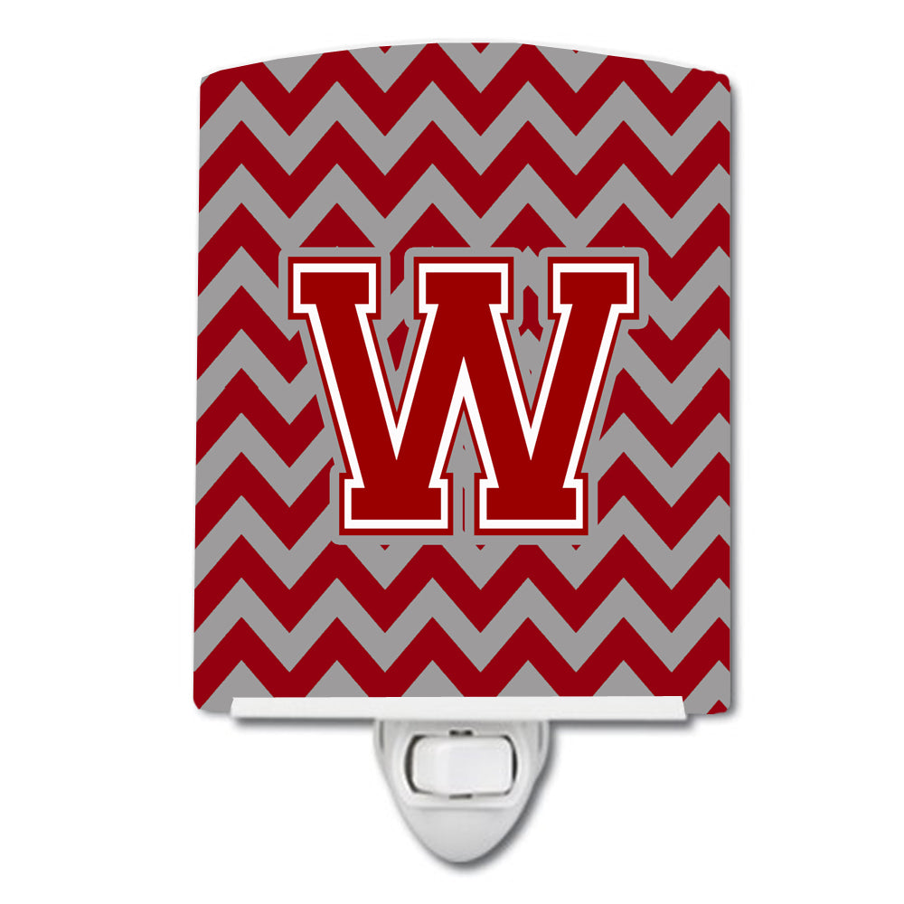 Buy this Letter W Chevron Maroon and White Ceramic Night Light CJ1049-WCNL
