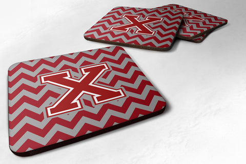 Buy this Letter X Chevron Maroon and White Foam Coaster Set of 4 CJ1049-XFC