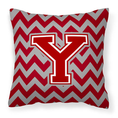 Buy this Letter Y Chevron Maroon and White Fabric Decorative Pillow CJ1049-YPW1414
