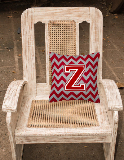 Letter Z Chevron Maroon and White Fabric Decorative Pillow CJ1049-ZPW1414