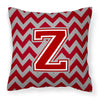 Buy this Letter Z Chevron Maroon and White Fabric Decorative Pillow CJ1049-ZPW1414