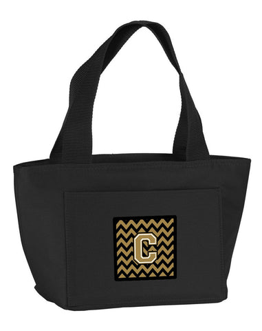 Buy this Letter C Chevron Black and Gold  Lunch Bag CJ1050-CBK-8808
