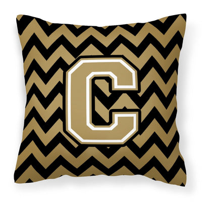 Buy this Letter C Chevron Black and Gold  Fabric Decorative Pillow CJ1050-CPW1414
