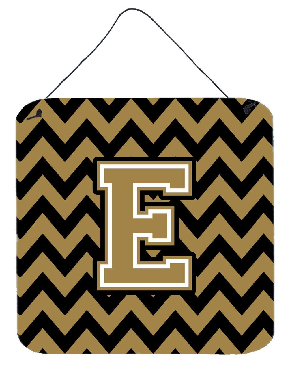 Letter E Chevron Black and Gold  Wall or Door Hanging Prints CJ1050-EDS66 by Caroline's Treasures