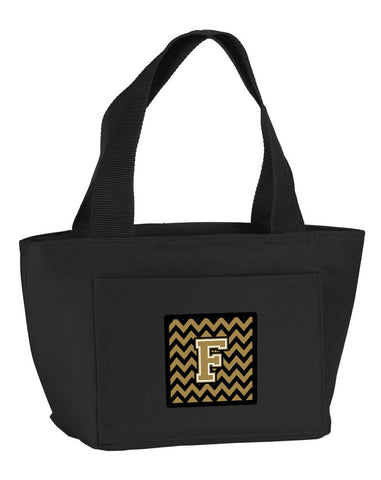 Buy this Letter F Chevron Black and Gold  Lunch Bag CJ1050-FBK-8808