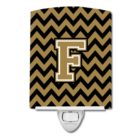 Buy this Letter F Chevron Black and Gold  Ceramic Night Light CJ1050-FCNL