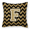 Letter F Chevron Black and Gold  Fabric Decorative Pillow CJ1050-FPW1414 by Caroline's Treasures