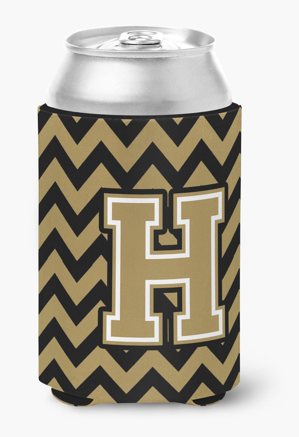 Letter H Chevron Black and Gold  Can or Bottle Hugger CJ1050-HCC by Caroline's Treasures