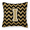 Letter I Chevron Black and Gold  Fabric Decorative Pillow CJ1050-IPW1414 by Caroline's Treasures