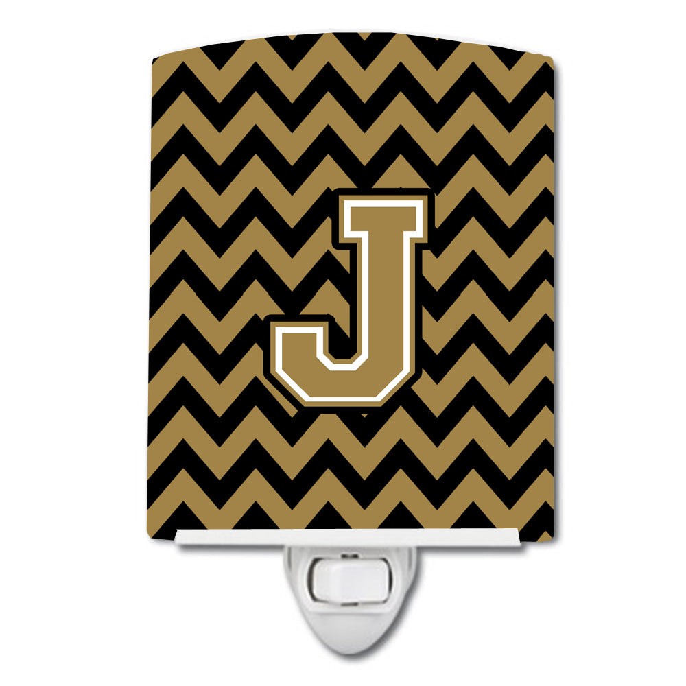 Letter J Chevron Black and Gold  Ceramic Night Light CJ1050-JCNL by Caroline's Treasures