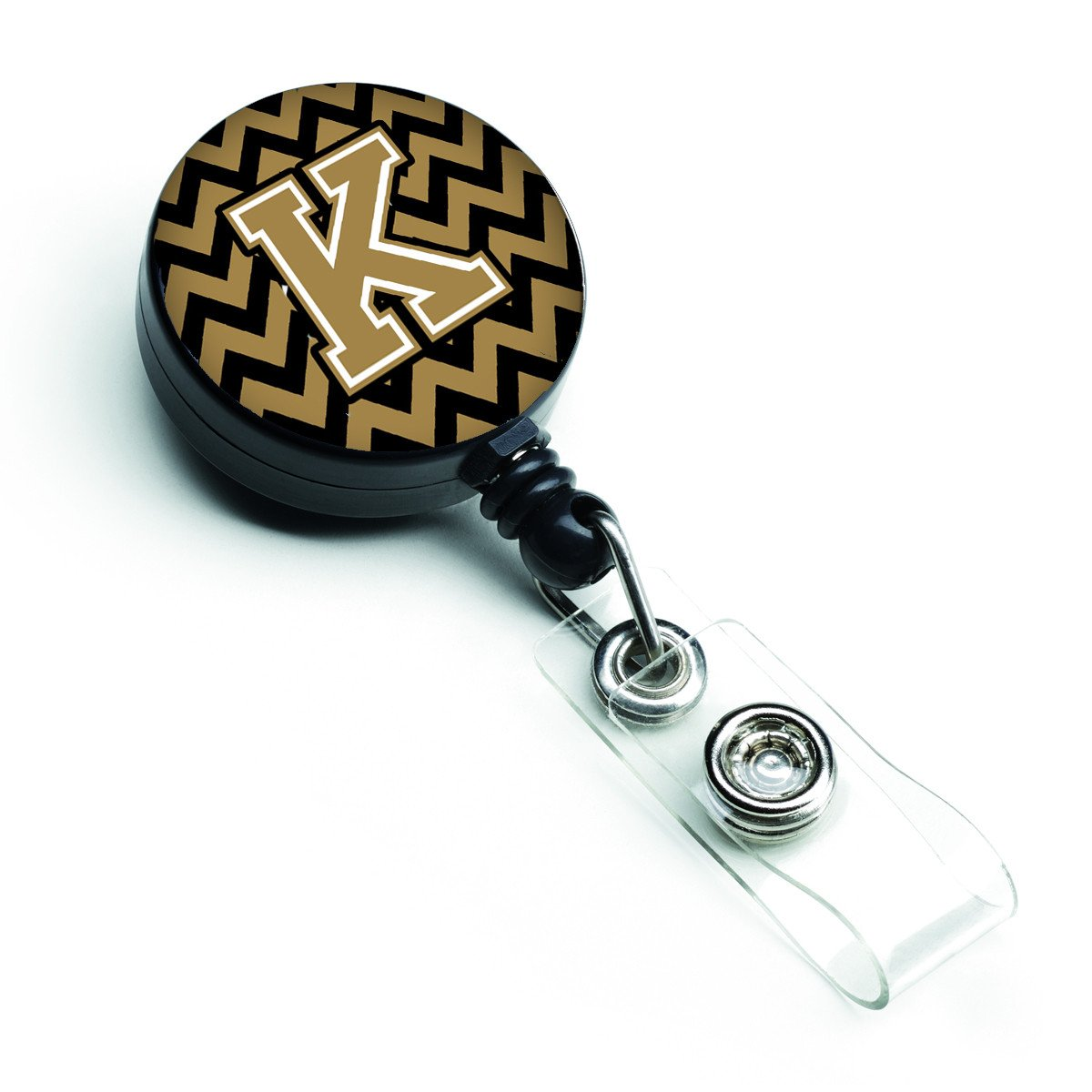 Letter K Chevron Black and Gold  Retractable Badge Reel CJ1050-KBR by Caroline's Treasures
