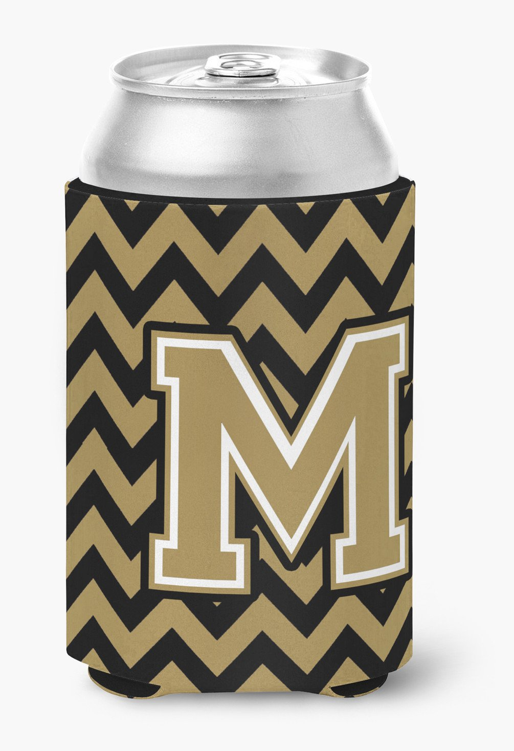 Letter M Chevron Black and Gold  Can or Bottle Hugger CJ1050-MCC by Caroline's Treasures