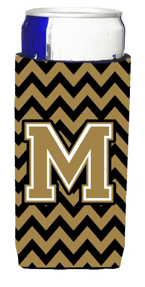 Letter M Chevron Black and Gold  Ultra Beverage Insulators for slim cans CJ1050-MMUK by Caroline's Treasures