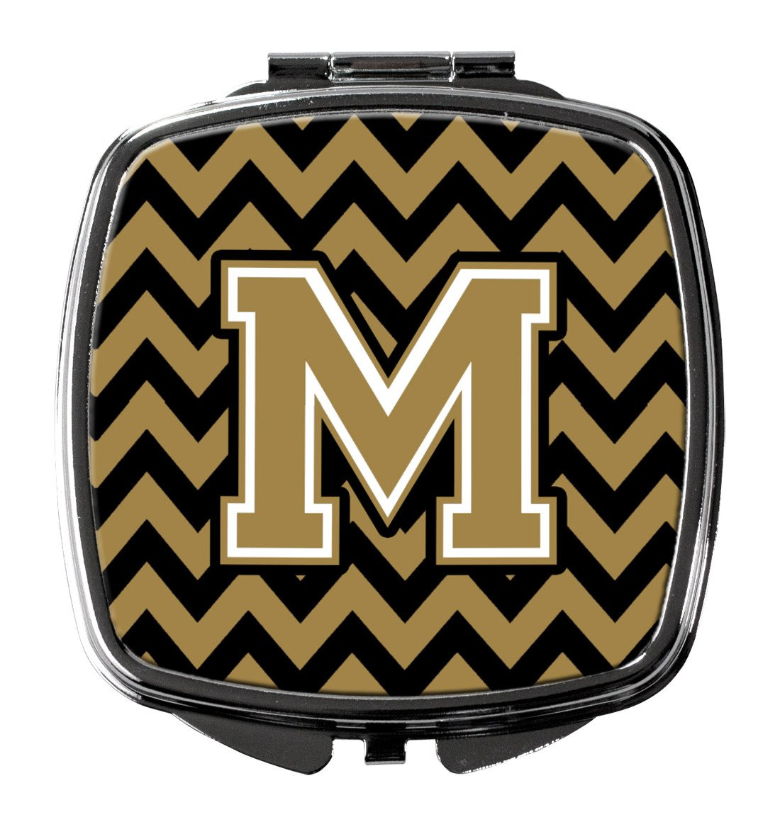 Letter M Chevron Black and Gold  Compact Mirror CJ1050-MSCM by Caroline's Treasures