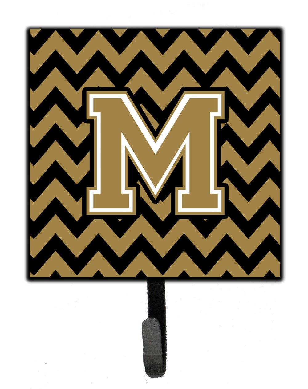 Letter M Chevron Black and Gold  Leash or Key Holder CJ1050-MSH4 by Caroline's Treasures