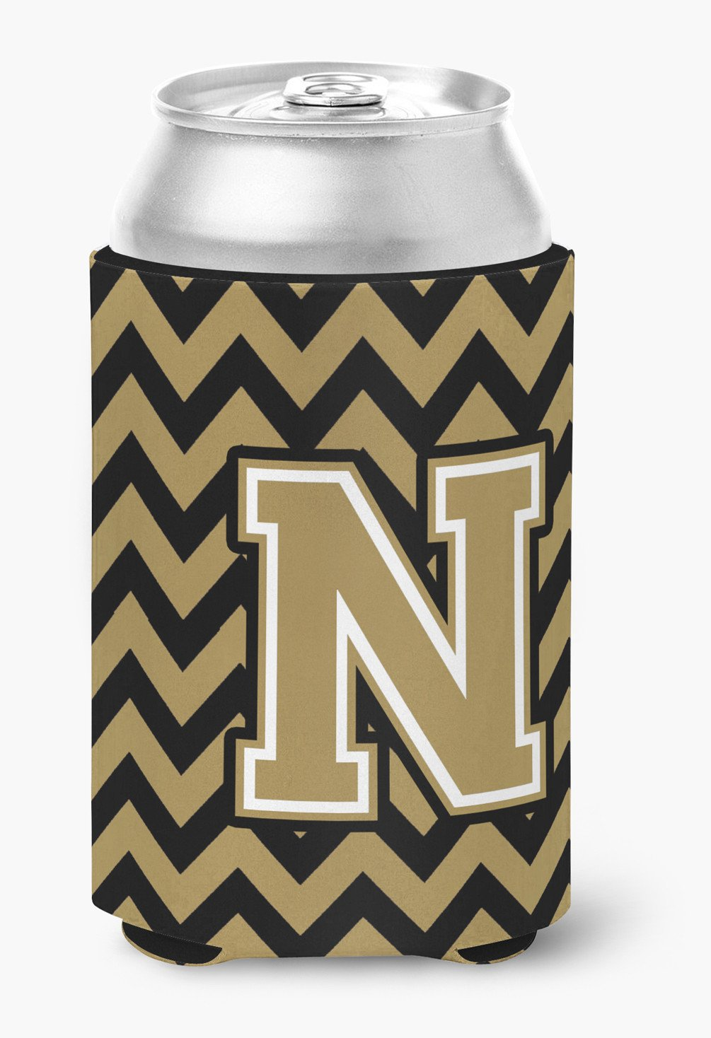 Letter N Chevron Black and Gold  Can or Bottle Hugger CJ1050-NCC by Caroline's Treasures