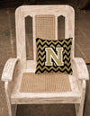 Letter N Chevron Black and Gold  Fabric Decorative Pillow CJ1050-NPW1414