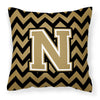 Buy this Letter N Chevron Black and Gold  Fabric Decorative Pillow CJ1050-NPW1414