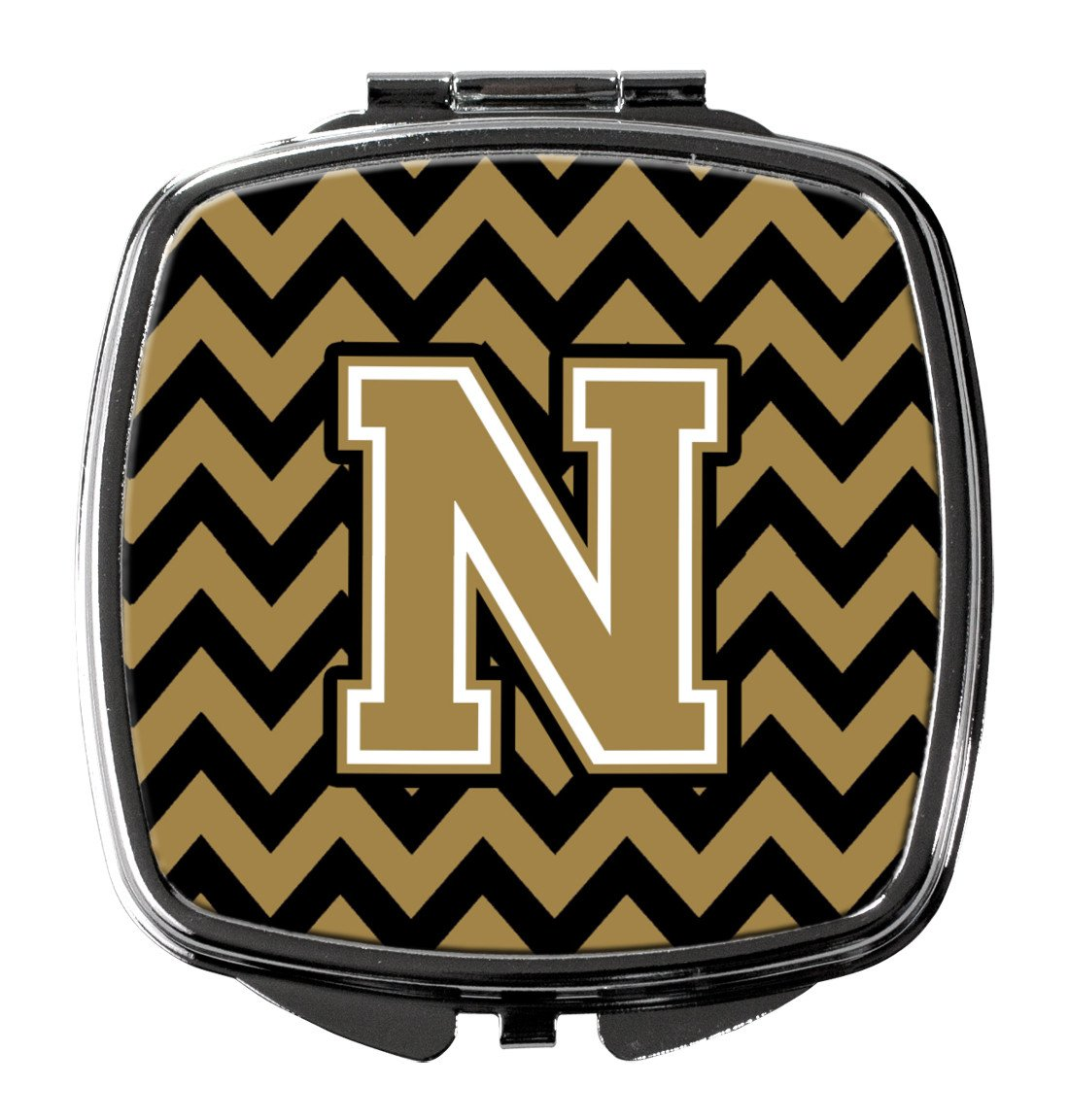 Letter N Chevron Black and Gold  Compact Mirror CJ1050-NSCM by Caroline's Treasures