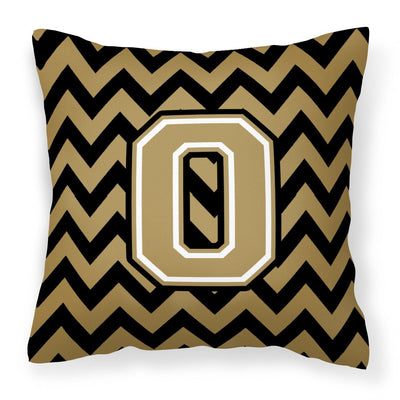 Buy this Letter O Chevron Black and Gold  Fabric Decorative Pillow CJ1050-OPW1414
