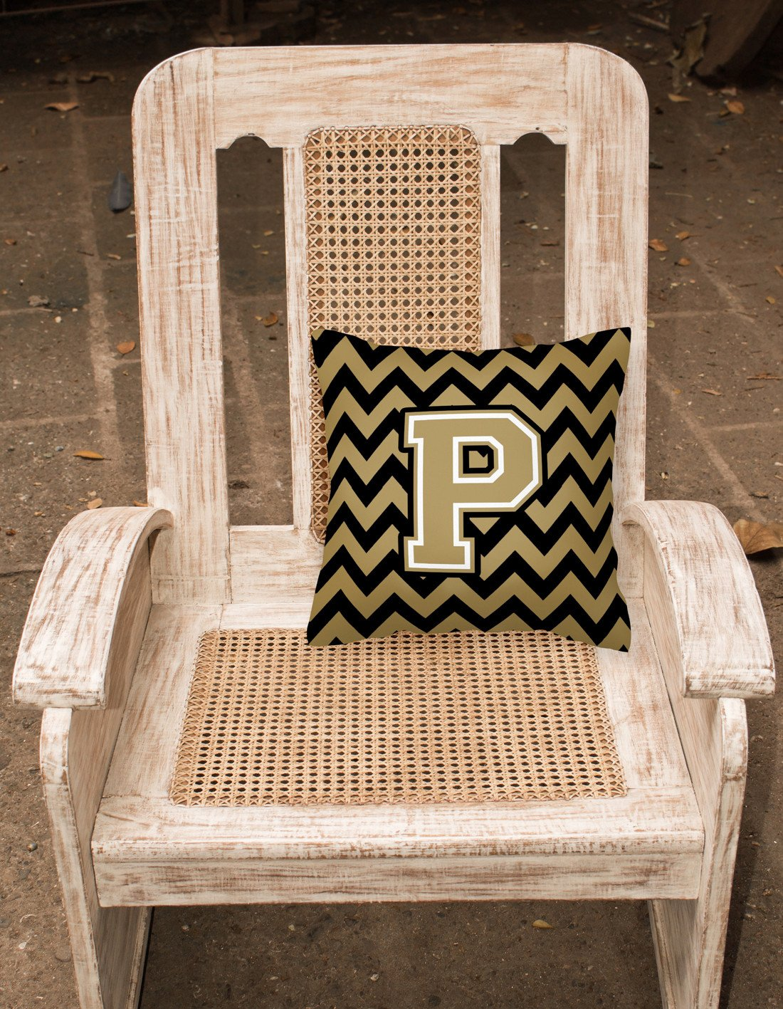 Letter P Chevron Black and Gold  Fabric Decorative Pillow CJ1050-PPW1414 by Caroline's Treasures